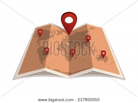 Location Icon. Map With A Pin Pointer. Vintage World Map With Markers. Vector Illustration