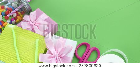 Banner Festive Composition With Gift Box Decor For The Holiday Copy Space For Text Materials For A H