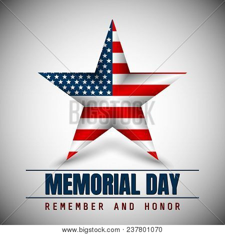 Memorial Day With Star In National Flag Colors.
