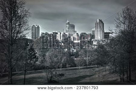 A Dramatic Black And White Skyline Of The Beautiful City Of Raleigh, North Carolina.