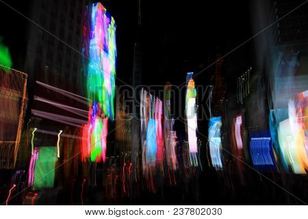 Times Square Lights With Blurred Motion Effect, New York, City, Usa