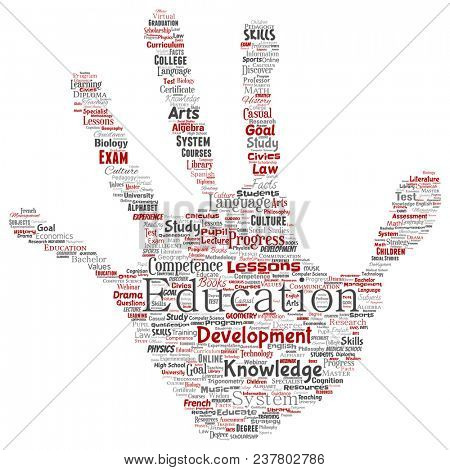 Conceptual education, knowledge, information hand print stamp word cloud isolated background. Collage of learning, infographic, training, teaching, system, progress, online, culture concept