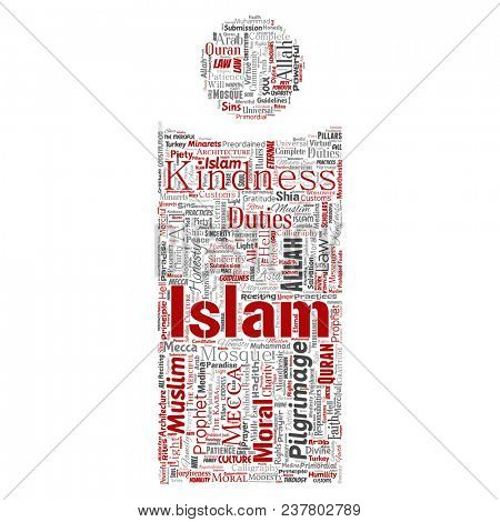 Conceptual islam, prophet, mosque letter font I red word cloud isolated background. Collage of muslim, ramadam, quran, pilgrimage, allah, duties, art, calligraphy, oriental, tradition concept