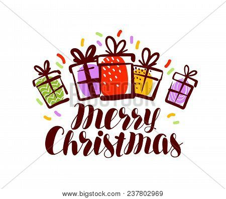 Merry Christmas, Greeting Card Or Banner. Xmas, Holiday Concept. Lettering Vector