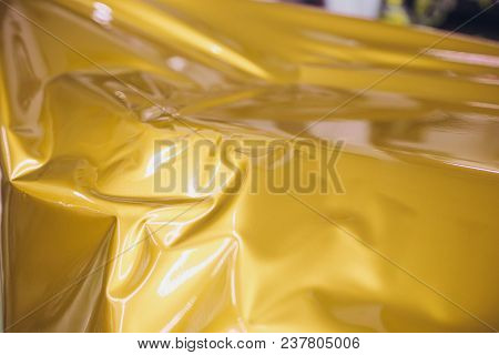 Car Wrapping Specialist Putting Vinyl Foil Or Film On Car Wrapping Protective Film Yacht, Boat, Ship