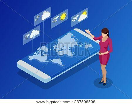 Weather Forecast App. Isometric Smartphone Screen. Weather App With Icons. Design Element Illustrati