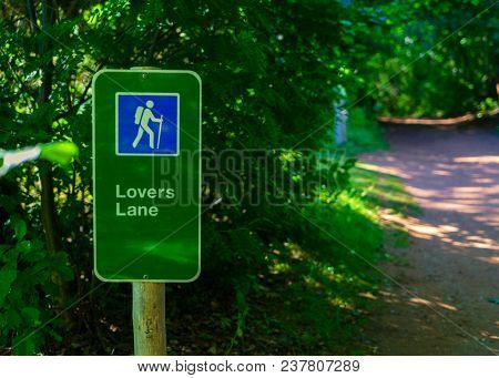 Lovers Lane sign in Prince Edward Island National Park, PEI, Canada.