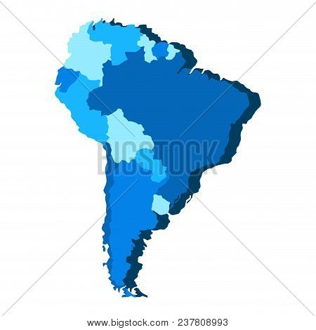 Political Map Of South America. Vector Illustration Design