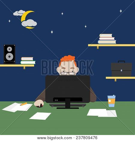 Man Working Or Study On Computer At Night, Freelance, Work  At Home And Remote Work. Vector Illustra
