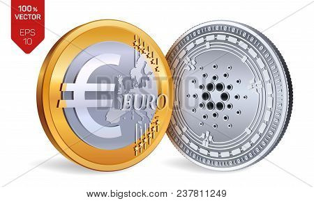 Cardano. Euro Coin. 3d Isometric Physical Coins. Digital Currency. Cryptocurrency. Golden And Silver