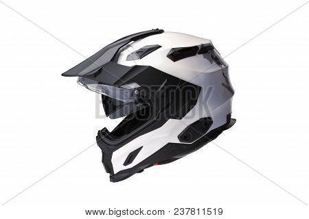 Side View Full Face Motorcycle White Helmet, Open The Face Shield Use To Protect The Head From Injur