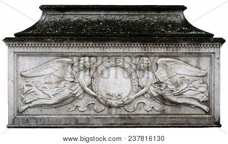 A Tomb Isolated On A White Background With Angels Holding A Wreath And Ribbons.