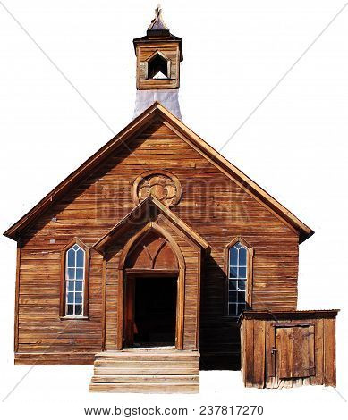 An Old Wooden Church, Isolated On A White Background, In The Sun.
