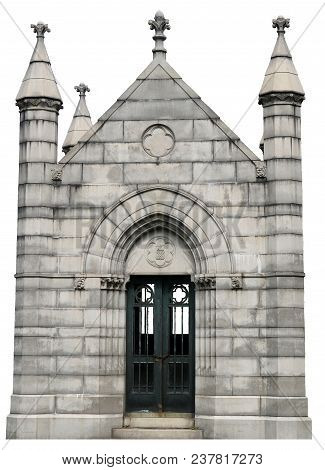An Isolated On White Gothic Mausoleum With Cut Out Windows And Detailed Stones.