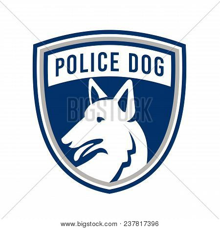 Mascot icon illustration of head of a police dog, German Shepherd, Alsatian wolf dog or sometimes abbreviated as GSD looking to side set inside shield or crest isolated background in retro style. poster