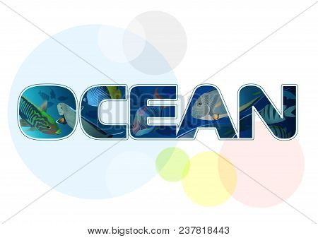 Inscription Ocean With Fish On White Background