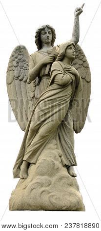 An Isolated On White Statue Of An Angel With Detailed Wings.