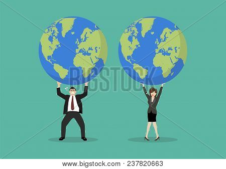 Businessman And Woman Struggling To Carry Globe. Vector Illustration