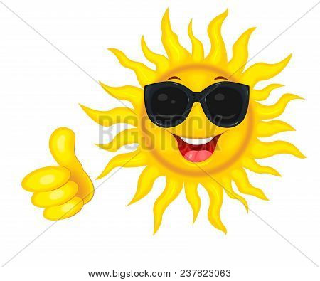 A Merry Cartoon Sun In Protective Glasses From The Sun. A Cheerful Cartoon Sun On A White Background