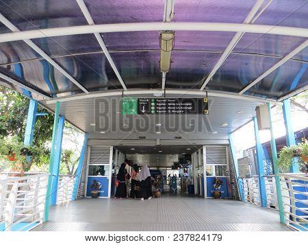 Jakarta, Indonesia - March 24, 2017: Entrance Gate Of Transjakarta Bus Shelter In Ragunan.
