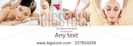 Massage And Spa Collection. Health Care, Healing And Medicine Concept. Beautiful Women In Spa. Hot S