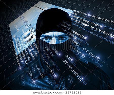 hacker with black balaclava portrait