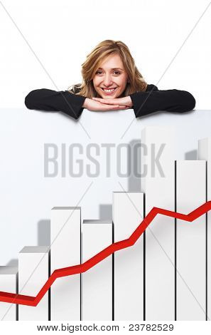 smiling woman and 3d finance graph