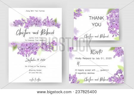 Save The Date Card, Wedding Invitation, Greeting Card With Beautiful Lilac Flowers. Set Of Card With