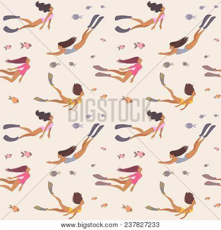 Summer Seamless Pattern With Beautiful Girls Swimming Underwater. Cool Wallpaper. Vector Illustratio