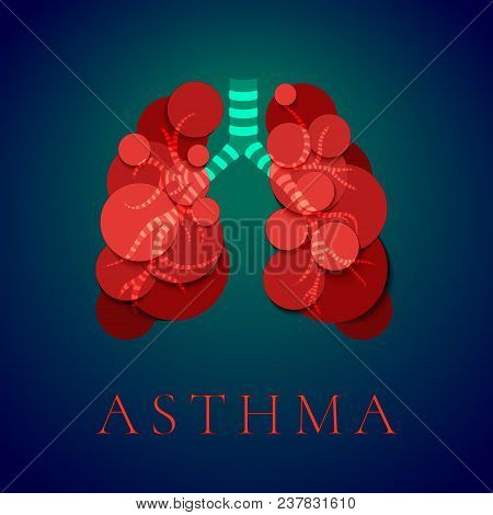 Asthma Awareness Day Poster With Human Lungs Made Of Red Bubbles On Blue Background. Bronchial Disea