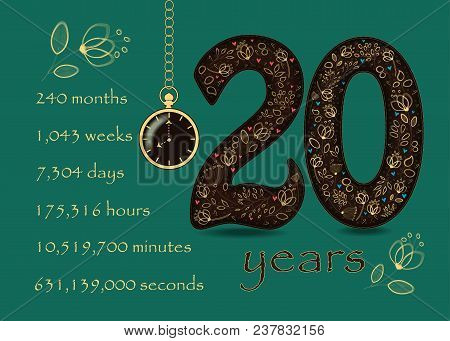 Floral Card With Number Twenty And Pocket Watch