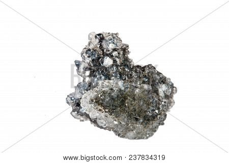 Macro Shooting Of Natural Gemstone. Raw Mineral Apophyllite. Isolated Object On A White Background
