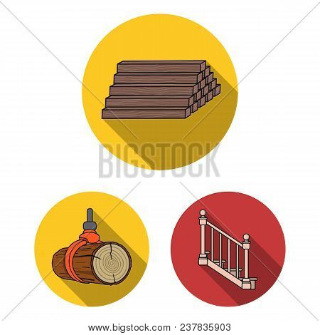 Sawmill And Timber Flat Icons In Set Collection For Design. Hardware And Tools Vector Symbol Stock