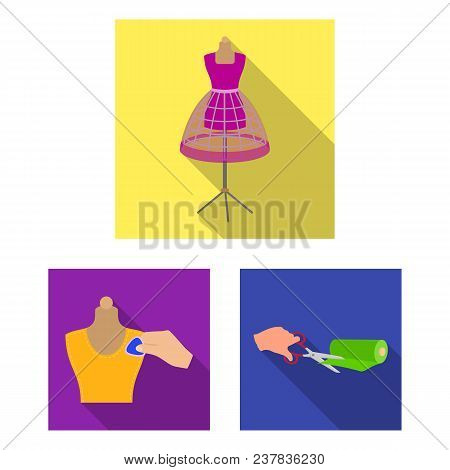 Atelier And Equipment Flat Icons In Set Collection For Design. Sewing Of Outer Clothing Vector Symbo