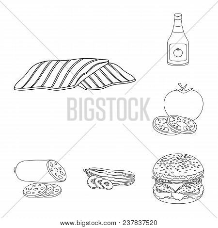 Burger And Ingredients Outline Icons In Set Collection For Design. Burger Cooking Vector Symbol Stoc