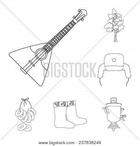 Country Russia, Travel Outline Icons In Set Collection For Design. Attractions And Features Vector S