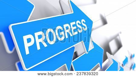 Progress, Text On Blue Arrow. Progress - Blue Arrow With A Text Indicates The Direction Of Movement.