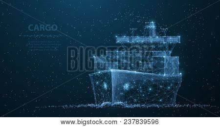 Worldwide Cargo Ship. Polygonal Wireframe Mesh Art Looks Like Constellation On Dark Blue Night Sky W