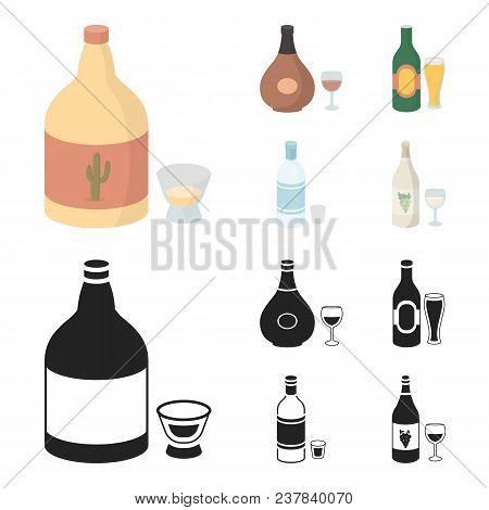 Tequila, Cognac, Beer, Vodka.alcohol Set Collection Icons In Cartoon, Black Style Vector Symbol Stoc