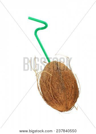 Straw and coco. Isolated object.