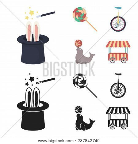 Lollipop, Trained Seal, Snack On Wheels, Monocycle.circus Set Collection Icons In Cartoon, Black Sty