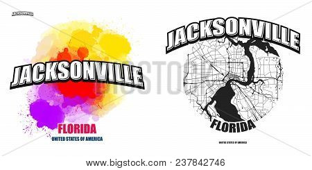 Jacksonville, Florida, Logo Design. Two In One Vector Arts. Big Logo With Vintage Letters With Nice