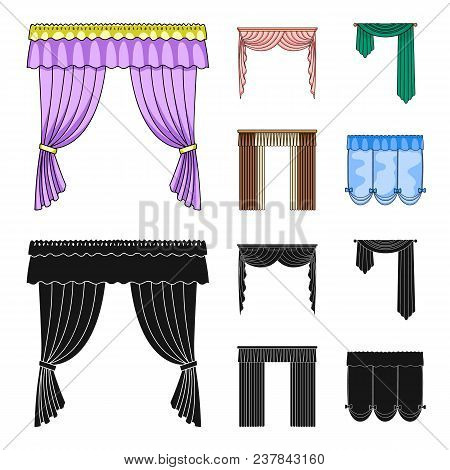 Different Types Of Window Curtains.curtains Set Collection Icons In Cartoon, Black Style Vector Symb