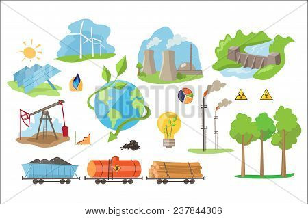 Alternative Electricity Production Icons. Environmentally Eco-friendly Sources Of Power. Renewable N