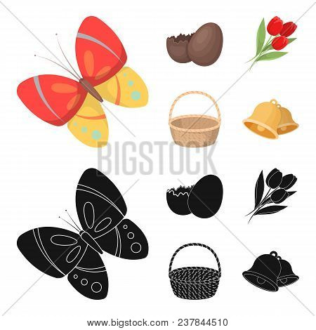 Chocolate Egg, Bells, Basket And Flowers.easter Set Collection Icons In Cartoon, Black Style Vector