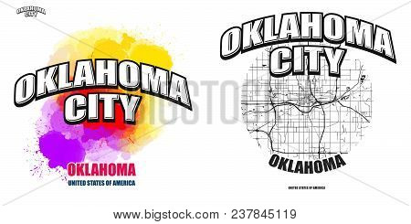 Oklahoma City, Oklahoma, Logo Design. Two In One Vector Arts. Big Logo With Vintage Letters With Nic