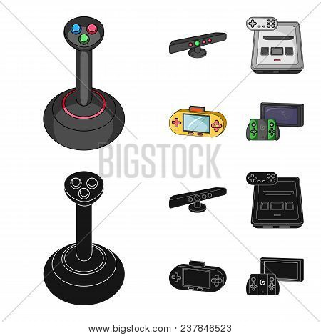 Game And Tv Set-top Box Cartoon, Black Icons In Set Collection For Design.game Gadgets Vector Symbol