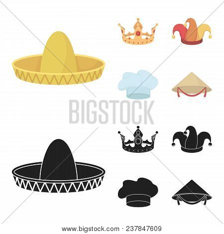 Crown, Jester Cap, Cook, Cone. Hats Set Collection Icons In Cartoon, Black Style Vector Symbol Stock