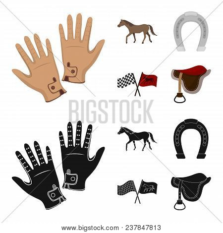 Race, Track, Horse, Animal .hippodrome And Horse Set Collection Icons In Cartoon, Black Style Vector