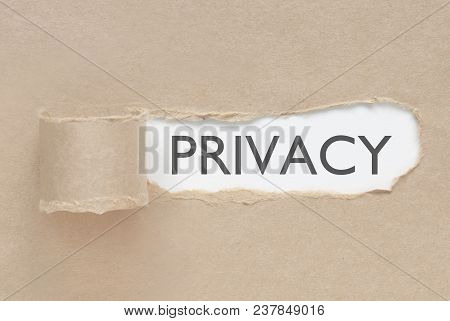 Torn Paper Revealing The Word Privacy Underneath